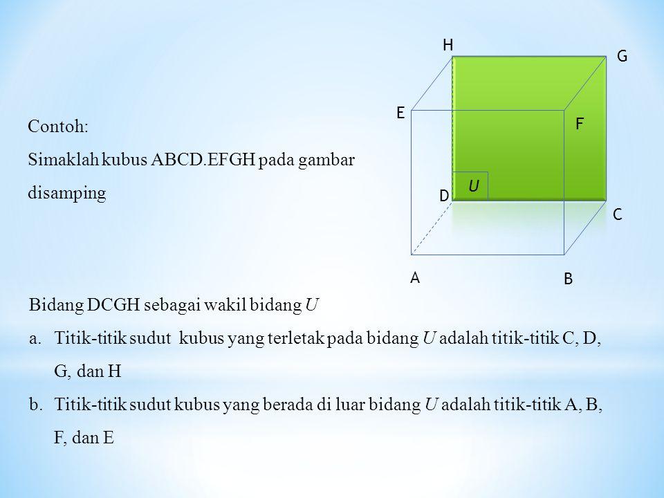 U Contoh: Simaklah kubus ABCD.EFGH pada gambar disamping Bidang DCGH sebagai wakil bidang U a.Titik-titik sudut kubus yang terletak pada bidang U adalah titik-titik C, D, G, dan H b.Titik-titik sudut kubus yang berada di luar bidang U adalah titik-titik A, B, F, dan E A H G F E D C B