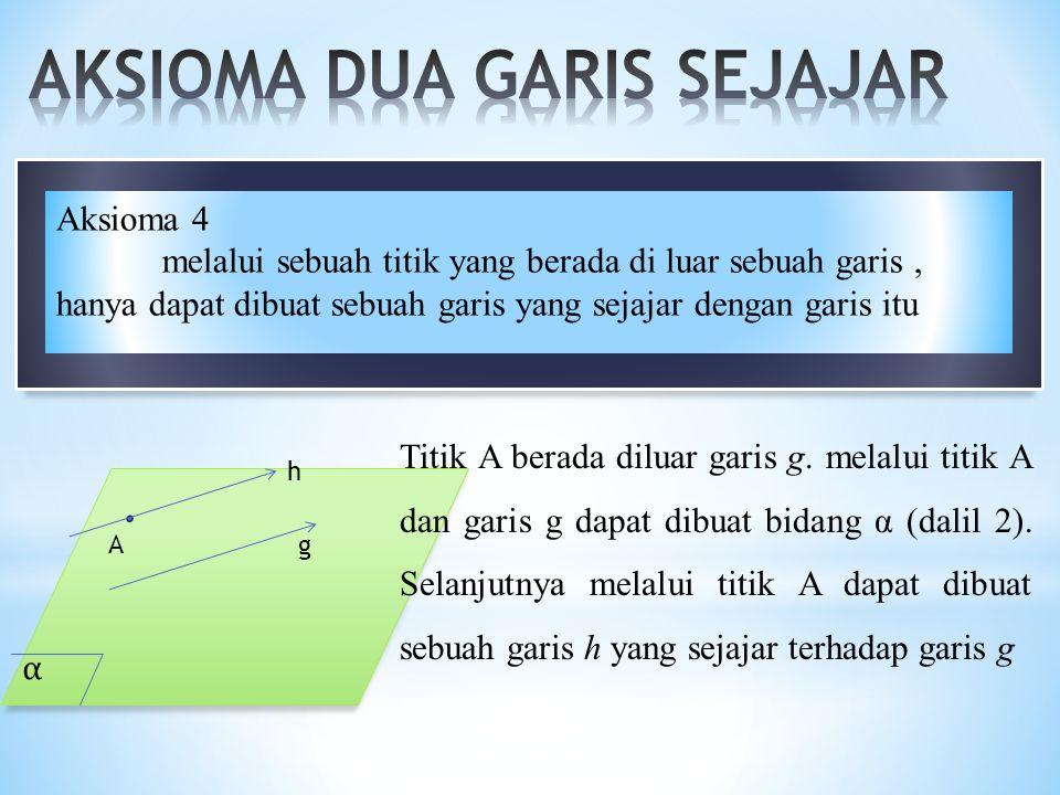 α A h g Titik A berada diluar garis g. melalui titik A dan garis g dapat dibuat bidang α (dalil 2). Selanjutnya melalui titik A dapat dibuat sebuah ga