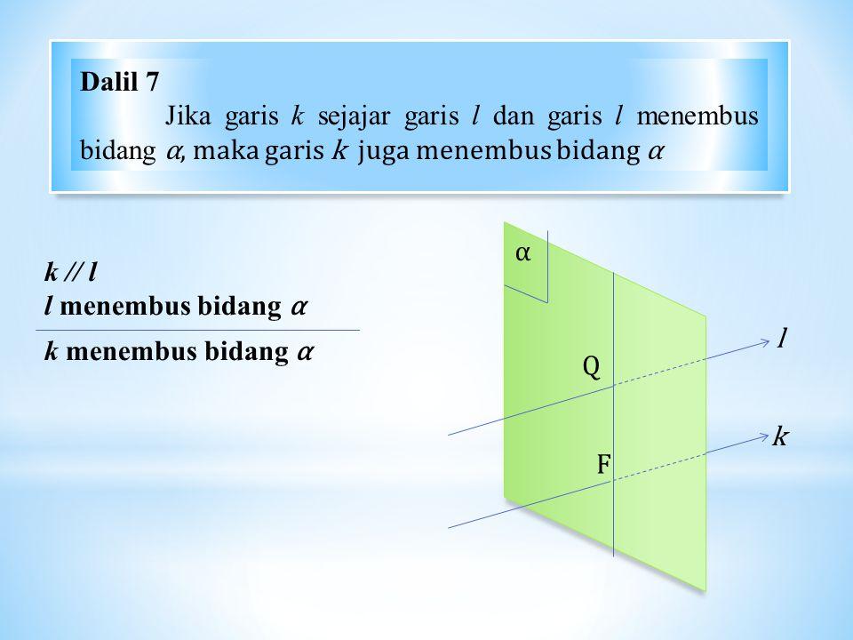 α Q F l k k // l l menembus bidang α k menembus bidang α Dalil 7 Jika garis k sejajar garis l dan garis l menembus bidang α, maka garis k juga menembus bidang α