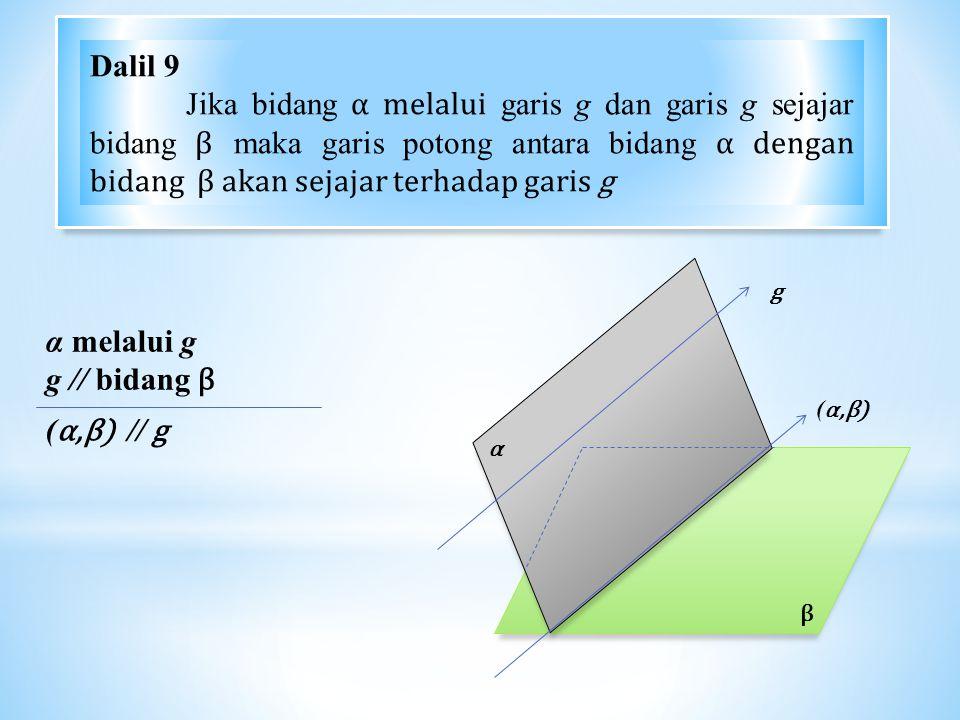 β α g α melalui g g // bidang β ( α,β) // g (α,β)(α,β) Dalil 9 Jika bidang α melalui garis g dan garis g sejajar bidang β maka garis potong antara bidang α dengan bidang β akan sejajar terhadap garis g