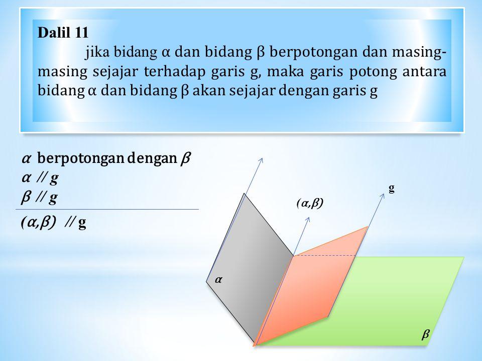 α β α berpotongan dengan β α // g β // g ( α,β) // g (α,β)(α,β) Dalil 11 jika bidang α dan bidang β berpotongan dan masing- masing sejajar terhadap garis g, maka garis potong antara bidang α dan bidang β akan sejajar dengan garis g g