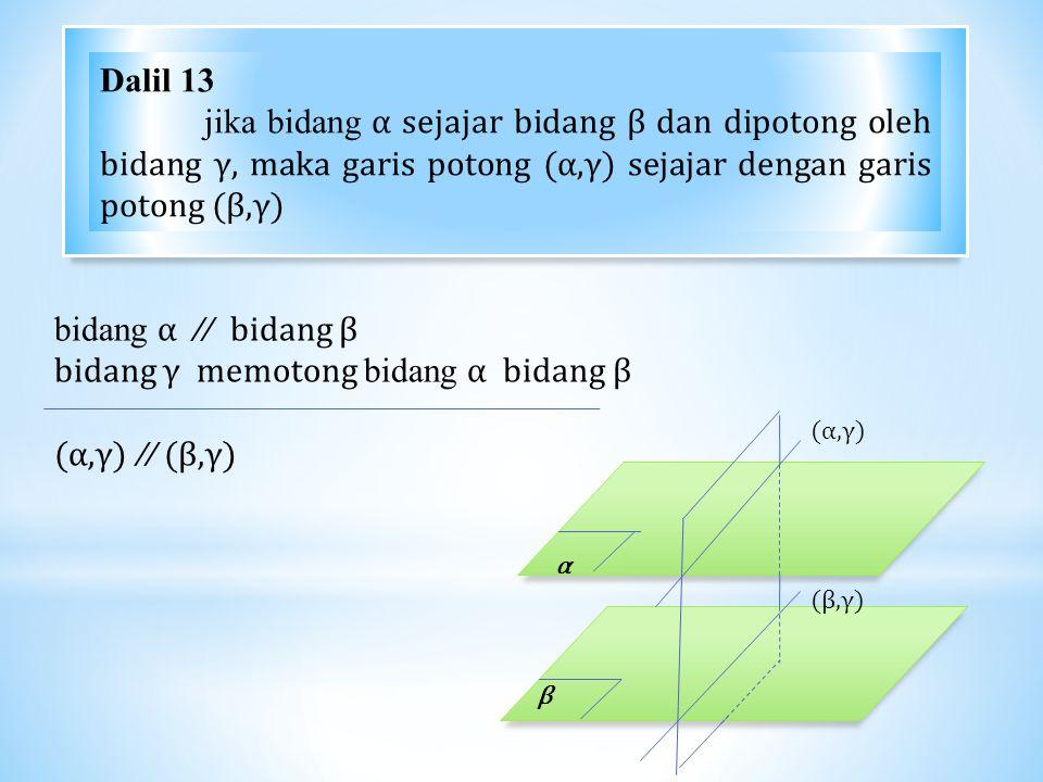 bidang α // bidang β bidang γ memotong bidang α bidang β (α,γ) // (β,γ) α β (α,γ)(α,γ) (β,γ)(β,γ) Dalil 13 jika bidang α sejajar bidang β dan dipotong oleh bidang γ, maka garis potong (α,γ) sejajar dengan garis potong (β,γ)