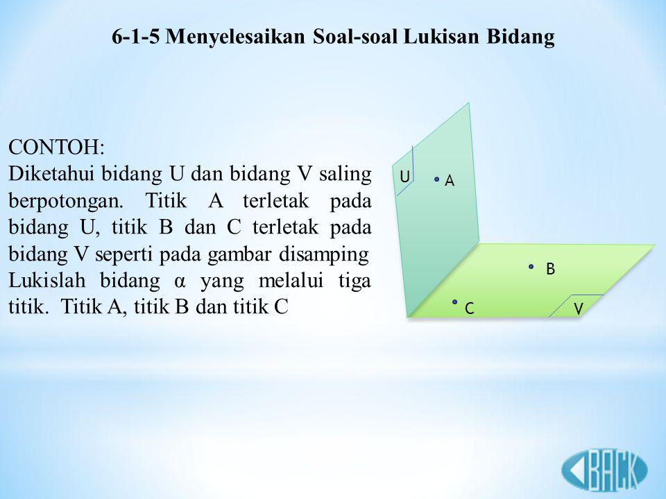 6-1-5 Menyelesaikan Soal-soal Lukisan Bidang CONTOH: Diketahui bidang U dan bidang V saling berpotongan. Titik A terletak pada bidang U, titik B dan C