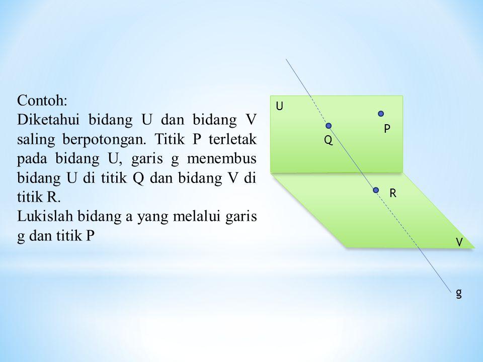 P g U V R Q Contoh: Diketahui bidang U dan bidang V saling berpotongan. Titik P terletak pada bidang U, garis g menembus bidang U di titik Q dan bidan