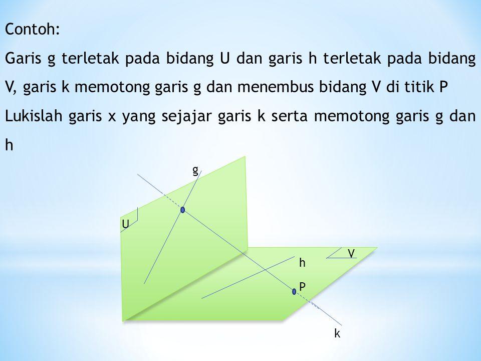 h P k V U g Contoh: Garis g terletak pada bidang U dan garis h terletak pada bidang V, garis k memotong garis g dan menembus bidang V di titik P Lukislah garis x yang sejajar garis k serta memotong garis g dan h