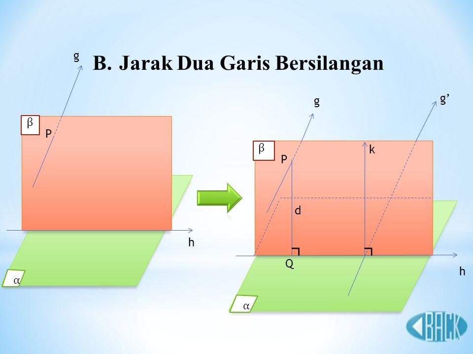B.Jarak Dua Garis Bersilangan h P β α g ⌝ d g h k Q P ⌝ β α g'