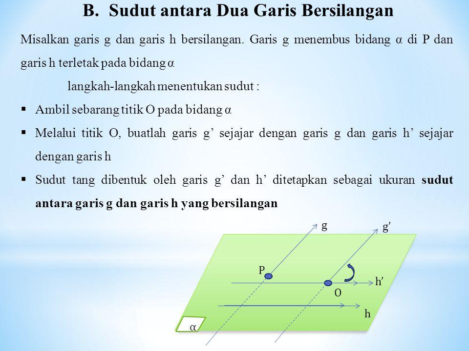 B.Sudut antara Dua Garis Bersilangan Misalkan garis g dan garis h bersilangan.