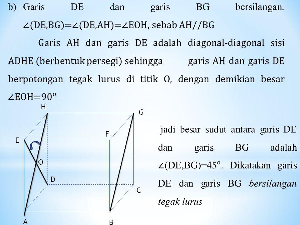 b)Garis DE dan garis BG bersilangan. ∠(DE,BG)=∠(DE,AH)=∠EOH, sebab AH//BG Garis AH dan garis DE adalah diagonal-diagonal sisi ADHE (berbentuk persegi)