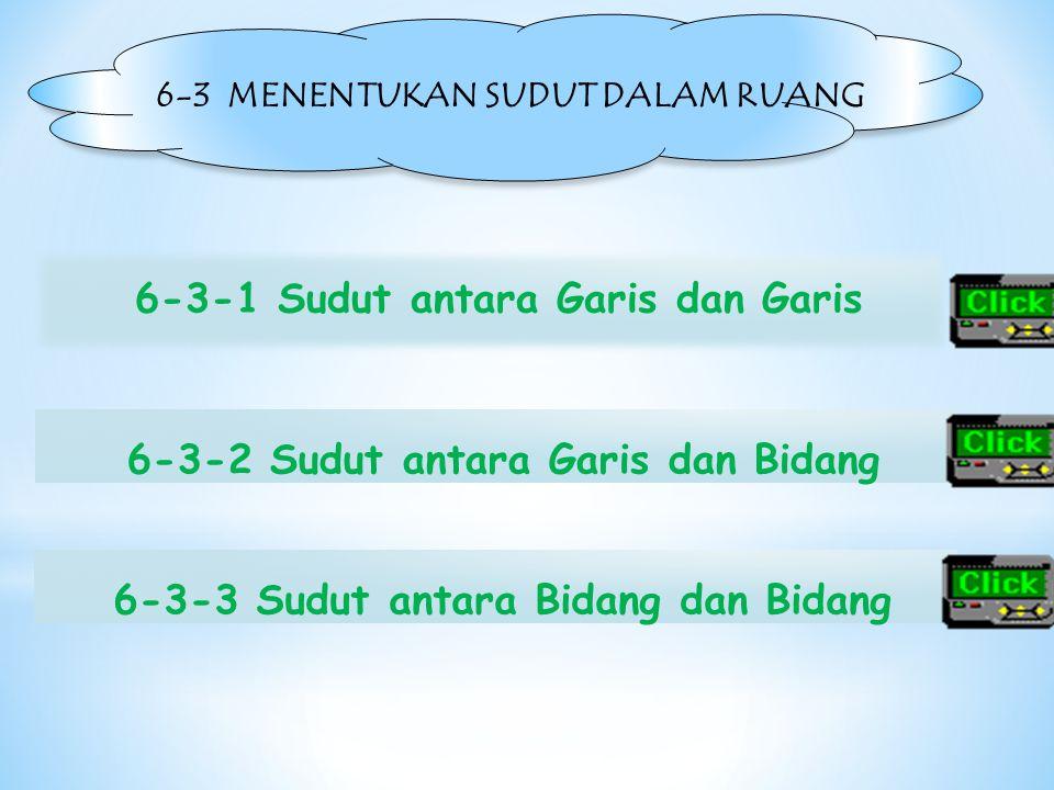 6-3 MENENTUKAN SUDUT DALAM RUANG 6-3-1 Sudut antara Garis dan Garis 6-3-3 Sudut antara Bidang dan Bidang6-3-2 Sudut antara Garis dan Bidang