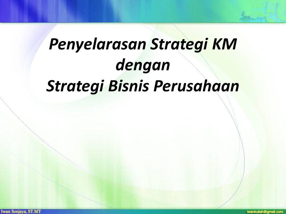 Strategi Perusahaan dan Strategi KM Strategi perusahaan merupakan salah satu fondasi yang harus tetap diacu dalam implementasi setiap inisiatif- inisiatif suatu organisasi, termasuk di dalamnya inisiatif implementasi KM strategi KM merupakan formulasi visi, misi dan objektif strategis dari pengelolaan knowledge yang dijabarkan dari strategi perusahaan