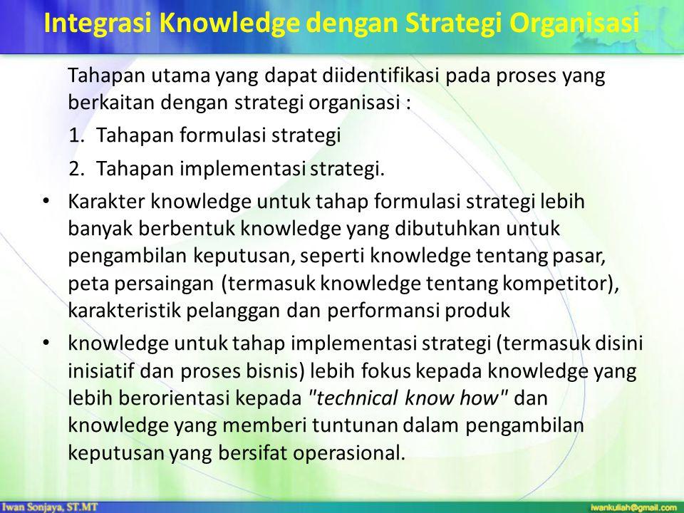 Integrasi Knowledge dengan Strategi Organisasi Tahapan utama yang dapat diidentifikasi pada proses yang berkaitan dengan strategi organisasi : 1.Tahap