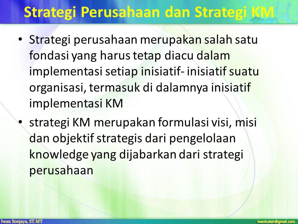 Strategi Perusahaan dan Strategi KM Strategi perusahaan merupakan salah satu fondasi yang harus tetap diacu dalam implementasi setiap inisiatif- inisi