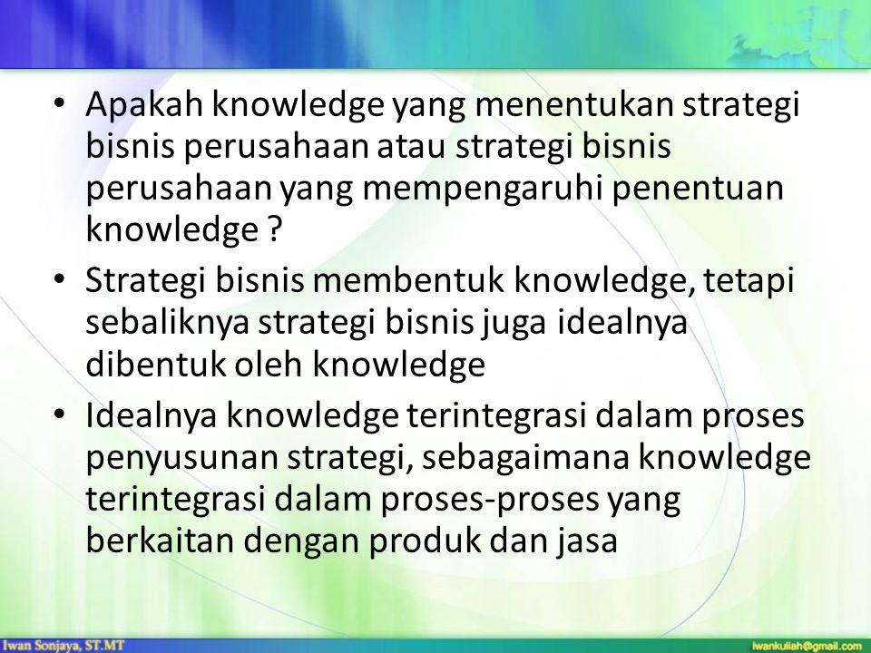 Apakah knowledge yang menentukan strategi bisnis perusahaan atau strategi bisnis perusahaan yang mempengaruhi penentuan knowledge ? Strategi bisnis me
