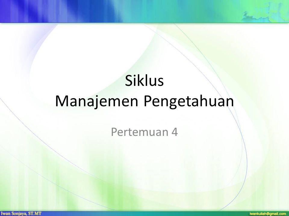 Siklus Manajemen Pengetahuan Pertemuan 4