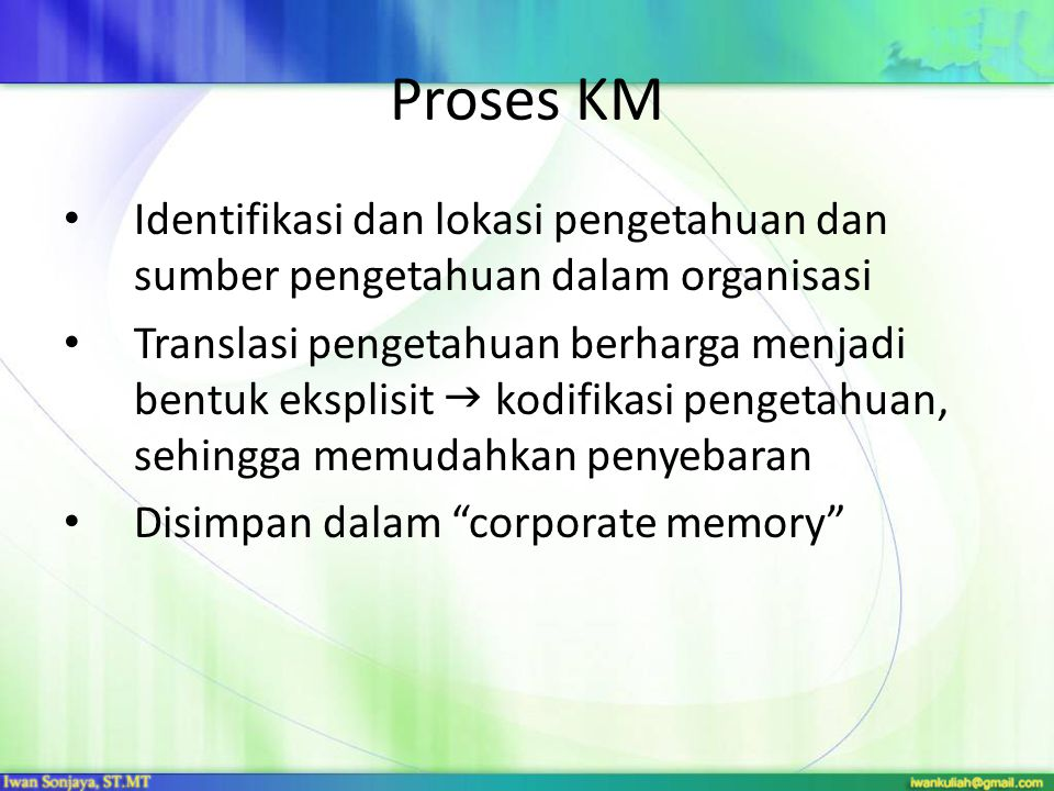 Proses KM Identifikasi dan lokasi pengetahuan dan sumber pengetahuan dalam organisasi Translasi pengetahuan berharga menjadi bentuk eksplisit  kodifi