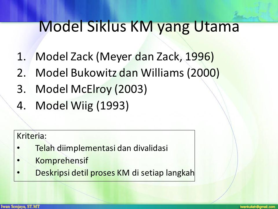 Model Siklus KM yang Utama 1.Model Zack (Meyer dan Zack, 1996) 2.Model Bukowitz dan Williams (2000) 3.Model McElroy (2003) 4.Model Wiig (1993) Kriteri