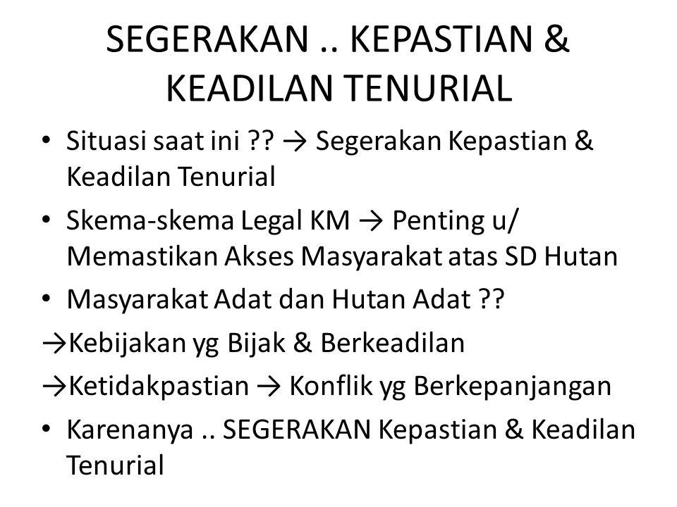 SEGERAKAN.. KEPASTIAN & KEADILAN TENURIAL Situasi saat ini ?? → Segerakan Kepastian & Keadilan Tenurial Skema-skema Legal KM → Penting u/ Memastikan A