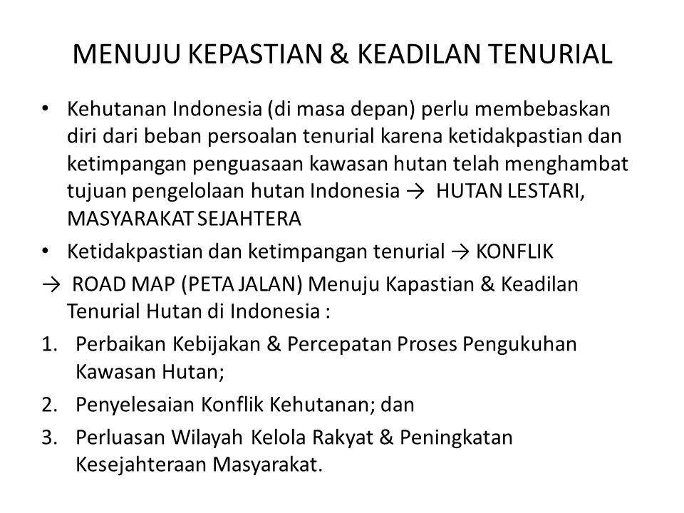 MENUJU KEPASTIAN & KEADILAN TENURIAL Kehutanan Indonesia (di masa depan) perlu membebaskan diri dari beban persoalan tenurial karena ketidakpastian da