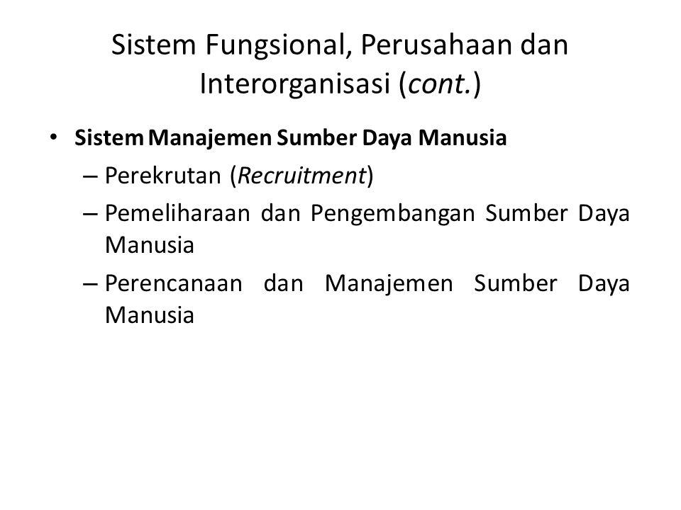 Sistem Fungsional, Perusahaan dan Interorganisasi (cont.) Sistem Manajemen Sumber Daya Manusia – Perekrutan (Recruitment) – Pemeliharaan dan Pengembangan Sumber Daya Manusia – Perencanaan dan Manajemen Sumber Daya Manusia