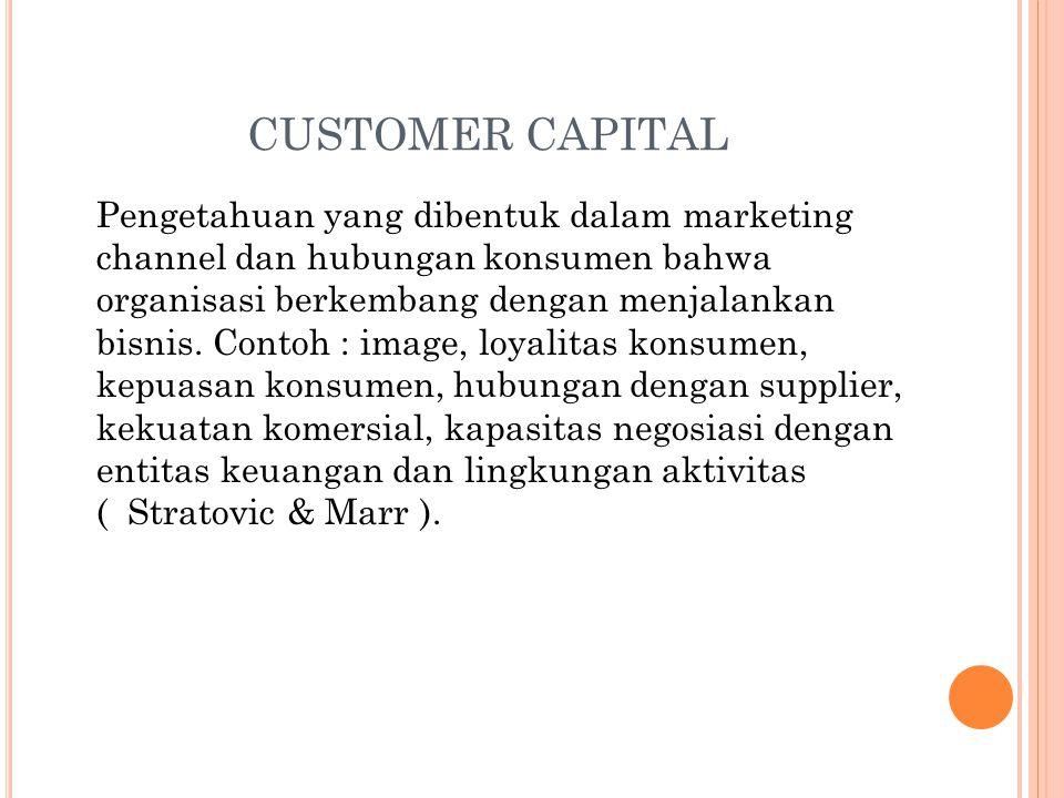CUSTOMER CAPITAL Pengetahuan yang dibentuk dalam marketing channel dan hubungan konsumen bahwa organisasi berkembang dengan menjalankan bisnis.