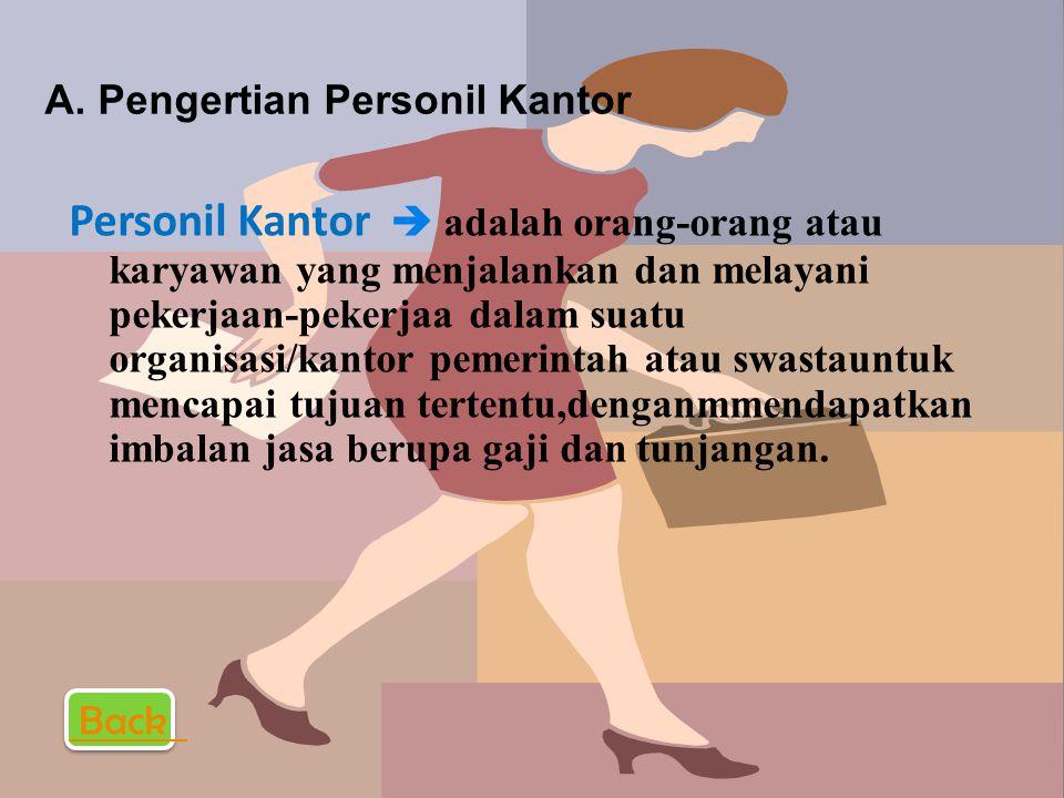 A. PENGERTIAN PERSONIL KANTOR PENGERTIAN PERSONIL KANTOR B. MACAM-MACAM PERSONIL KANTOR MACAM-MACAM PERSONIL KANTOR C. TAHAP- TAHAP PENGADAAN PERSONIL