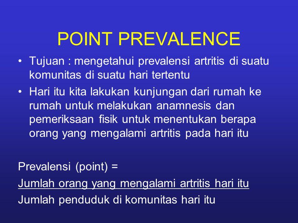 POINT PREVALENCE Tujuan : mengetahui prevalensi artritis di suatu komunitas di suatu hari tertentu Hari itu kita lakukan kunjungan dari rumah ke rumah untuk melakukan anamnesis dan pemeriksaan fisik untuk menentukan berapa orang yang mengalami artritis pada hari itu Prevalensi (point) = Jumlah orang yang mengalami artritis hari itu Jumlah penduduk di komunitas hari itu