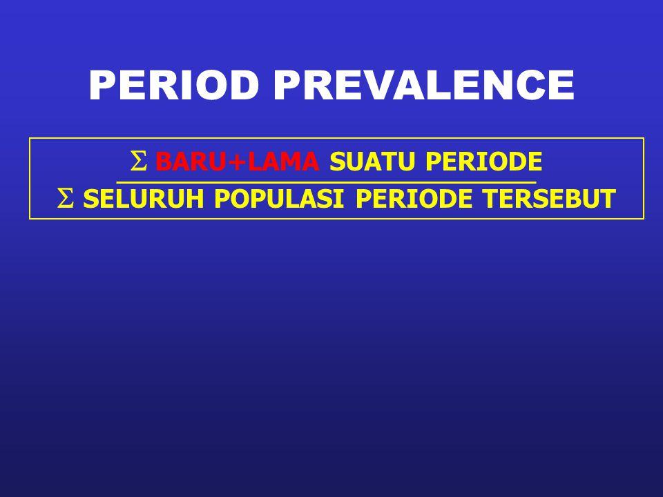 PERIOD PREVALENCE  BARU+LAMA SUATU PERIODE  SELURUH POPULASI PERIODE TERSEBUT