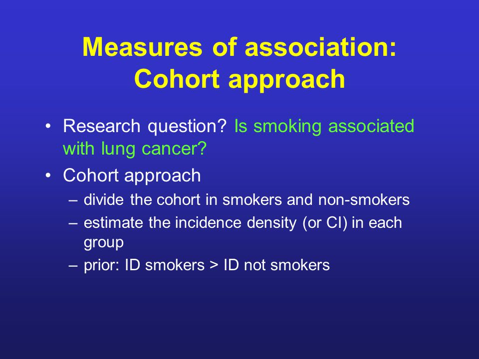 Measures of association: Cohort approach Research question.