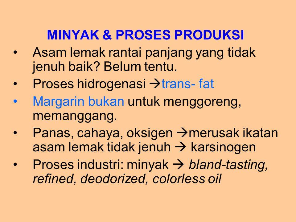 MINYAK & PROSES PRODUKSI Asam lemak rantai panjang yang tidak jenuh baik? Belum tentu. Proses hidrogenasi  trans- fat Margarin bukan untuk menggoreng
