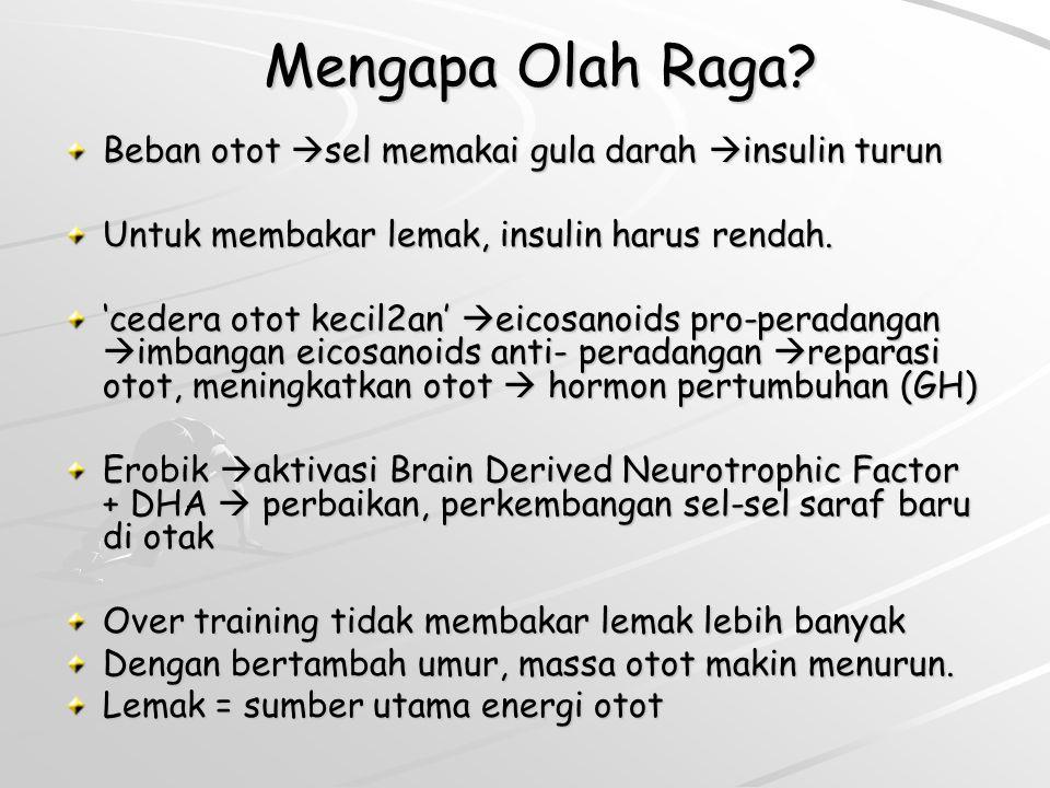 Mengapa Olah Raga? Mengapa Olah Raga? Beban otot sel memakai gula darah insulin turun Untuk membakar lemak, insulin harus rendah. 'cedera otot kecil