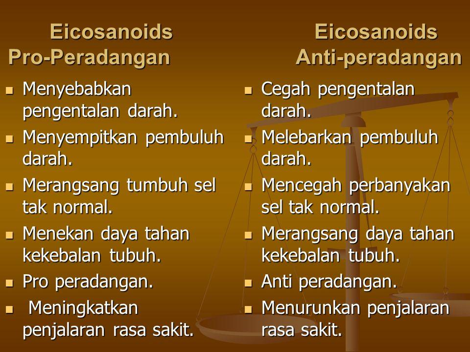 EicosanoidsEicosanoids Pro-Peradangan Anti-peradangan Cegah pengentalan darah. Cegah pengentalan darah. Melebarkan pembuluh darah. Melebarkan pembuluh