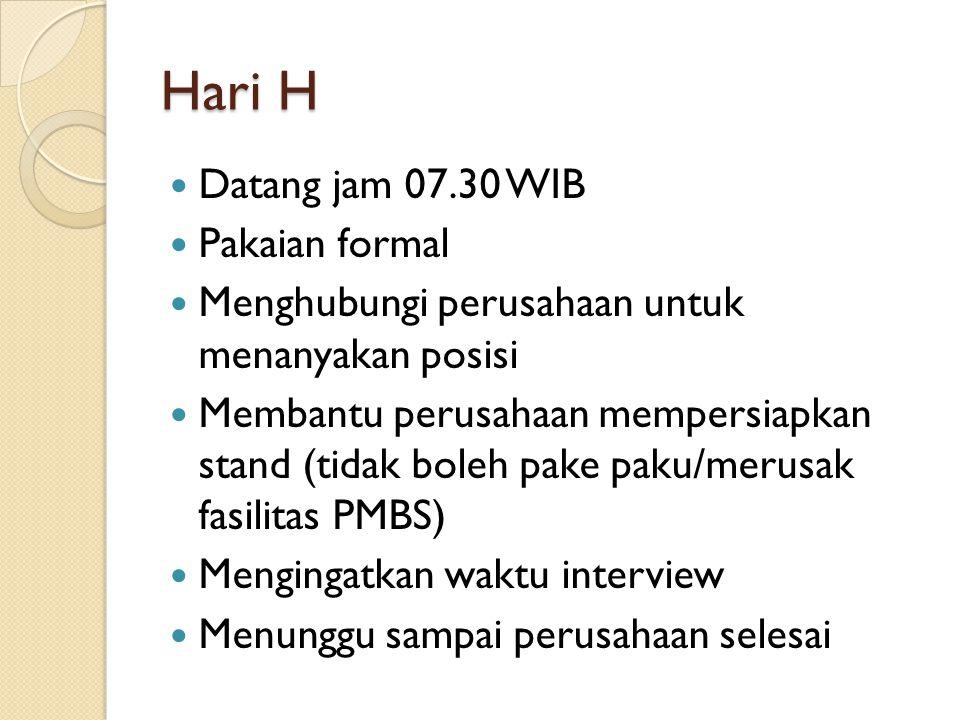Hari H Datang jam 07.30 WIB Pakaian formal Menghubungi perusahaan untuk menanyakan posisi Membantu perusahaan mempersiapkan stand (tidak boleh pake pa