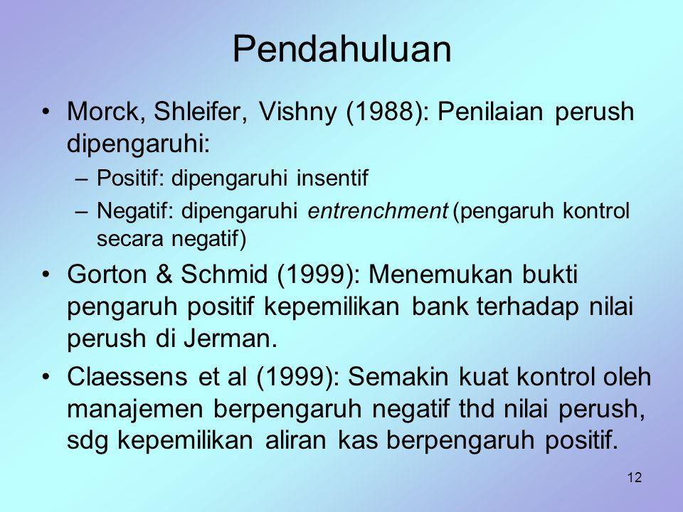 12 Pendahuluan Morck, Shleifer, Vishny (1988): Penilaian perush dipengaruhi: –Positif: dipengaruhi insentif –Negatif: dipengaruhi entrenchment (pengar