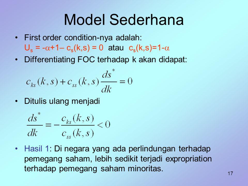 17 Model Sederhana First order condition-nya adalah: U s = -  +1– c s (k,s) = 0 atau c s (k,s)=1-  Differentiating FOC terhadap k akan didapat: Ditu