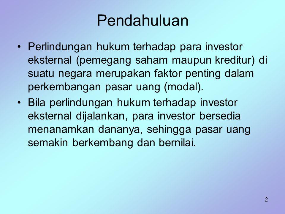 2 Pendahuluan Perlindungan hukum terhadap para investor eksternal (pemegang saham maupun kreditur) di suatu negara merupakan faktor penting dalam perk