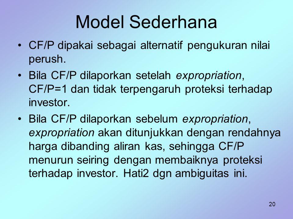 20 Model Sederhana CF/P dipakai sebagai alternatif pengukuran nilai perush. Bila CF/P dilaporkan setelah expropriation, CF/P=1 dan tidak terpengaruh p