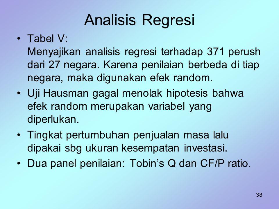 38 Analisis Regresi Tabel V: Menyajikan analisis regresi terhadap 371 perush dari 27 negara. Karena penilaian berbeda di tiap negara, maka digunakan e