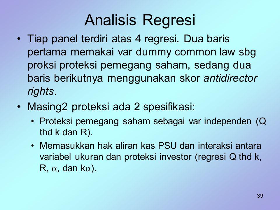 39 Analisis Regresi Tiap panel terdiri atas 4 regresi. Dua baris pertama memakai var dummy common law sbg proksi proteksi pemegang saham, sedang dua b