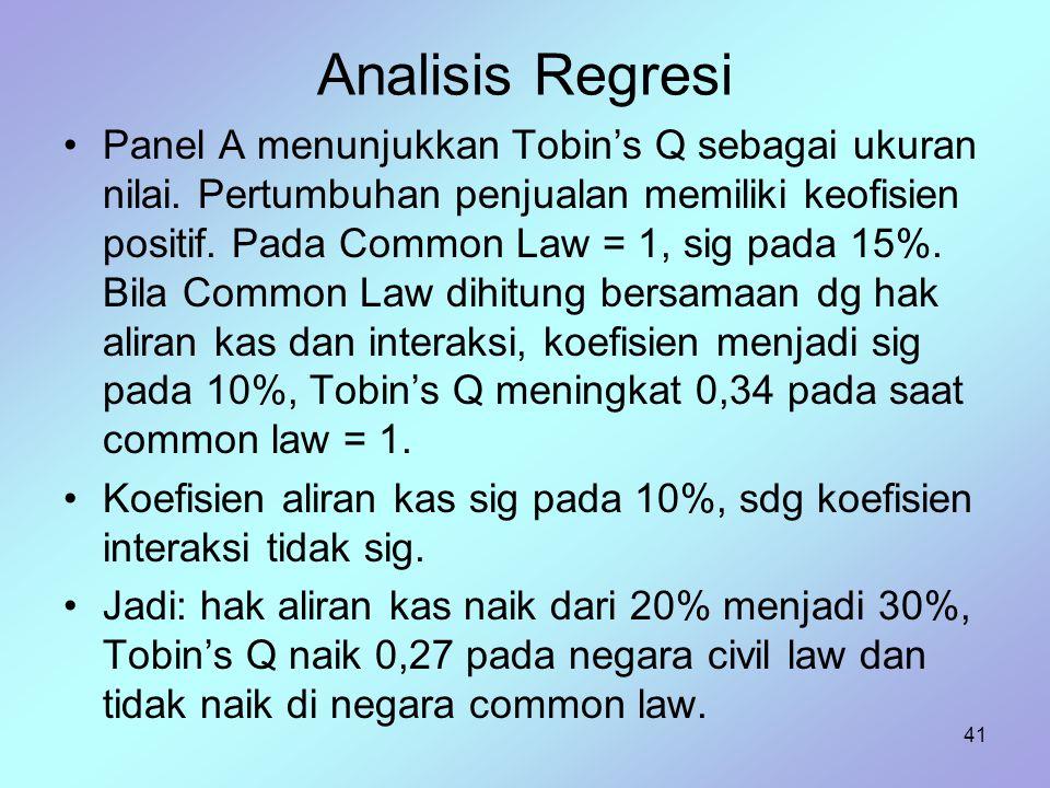 41 Analisis Regresi Panel A menunjukkan Tobin's Q sebagai ukuran nilai. Pertumbuhan penjualan memiliki keofisien positif. Pada Common Law = 1, sig pad