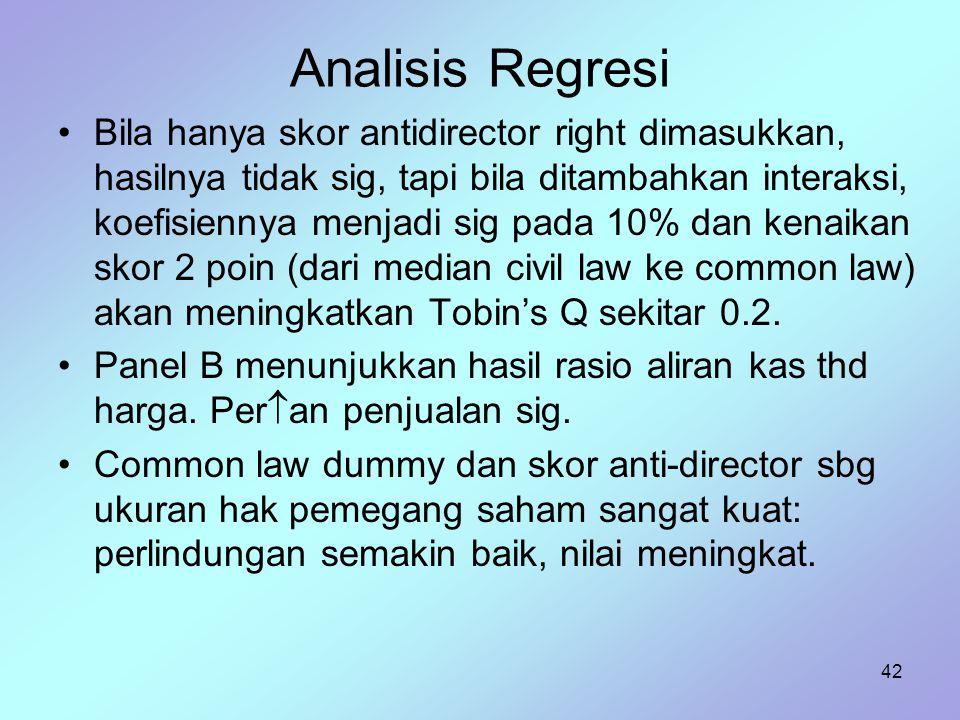 42 Analisis Regresi Bila hanya skor antidirector right dimasukkan, hasilnya tidak sig, tapi bila ditambahkan interaksi, koefisiennya menjadi sig pada
