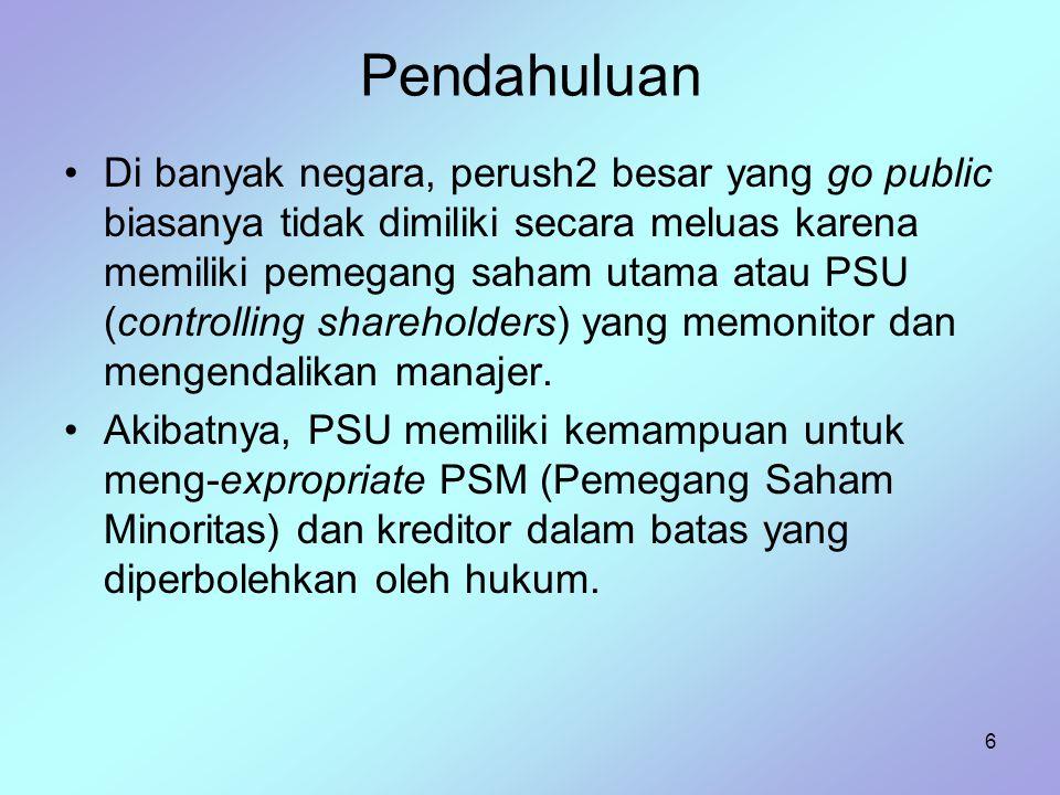 7 Pendahuluan Masalah agensi tidak terletak pada kegagalan manajer melayani PSM, tetapi pada ekspropriasi terhadap PSM dan kreditur oleh PSU.