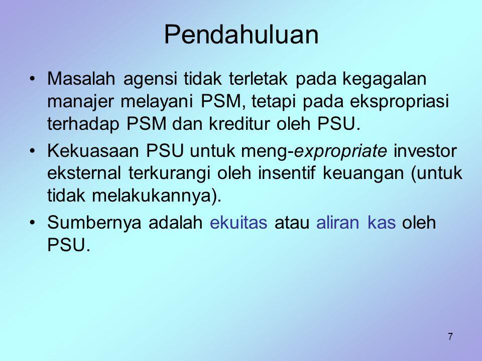 7 Pendahuluan Masalah agensi tidak terletak pada kegagalan manajer melayani PSM, tetapi pada ekspropriasi terhadap PSM dan kreditur oleh PSU. Kekuasaa