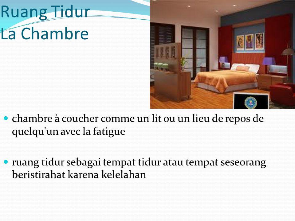 Ruang Tidur La Chambre chambre à coucher comme un lit ou un lieu de repos de quelqu'un avec la fatigue ruang tidur sebagai tempat tidur atau tempat se