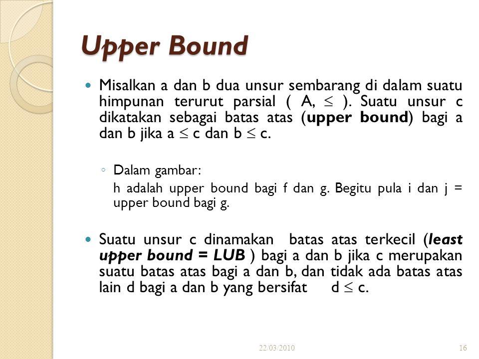 (dalam contoh diatas) Misal: B1 = { b, c } merupakan himpunan.bagian dari A. Maka Upper Bound dari B1 adalah f, h, i, j. LUB ( B1 ) = f Misal: B2 = {