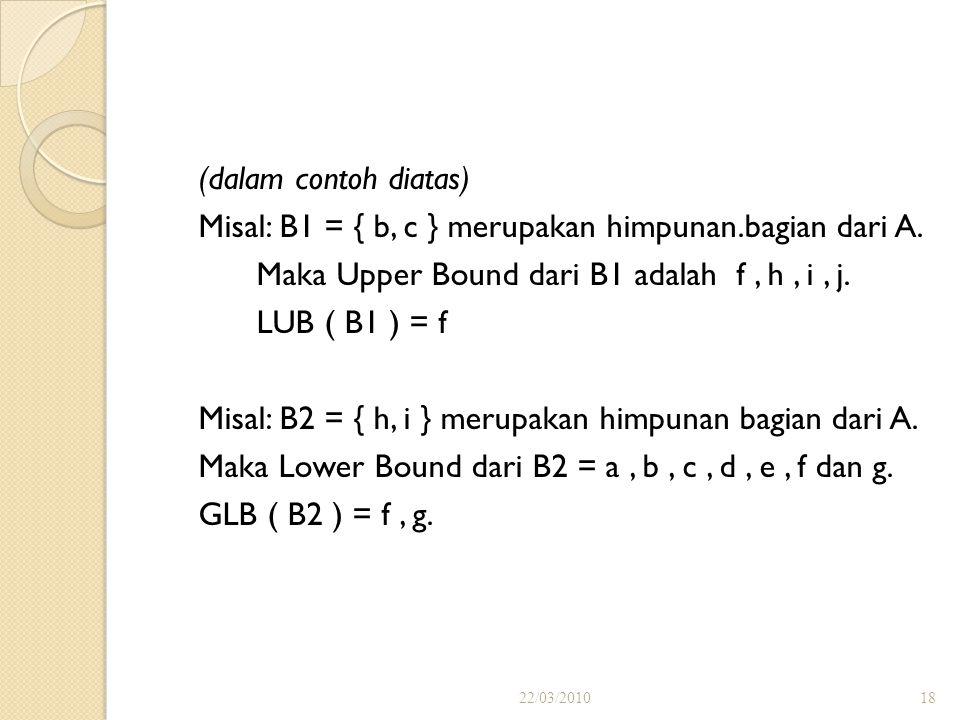 Lower Bound Suatu unsur c dinamakan suatu batas bawah (lower bound) bagi a dan b jika c  a dan c  b. Dan suatu unsur c dikatakan sebagai suatu batas