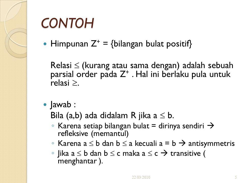 CONTOH Himpunan Z + = {bilangan bulat positif} Relasi  (kurang atau sama dengan) adalah sebuah parsial order pada Z +.