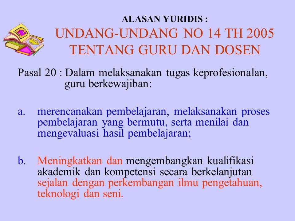 UNDANG-UNDANG NO 14 TH 2005 TENTANG GURU DAN DOSEN Pasal 32 : 1)Pembinaan dan pengembangan guru meliputi pembinaan dan pengembangan profesi dan karier.