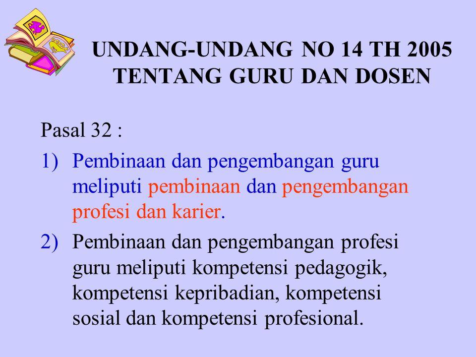 UNDANG-UNDANG NO 14 TH 2005 TENTANG GURU DAN DOSEN Pasal 32 : 1)Pembinaan dan pengembangan guru meliputi pembinaan dan pengembangan profesi dan karier