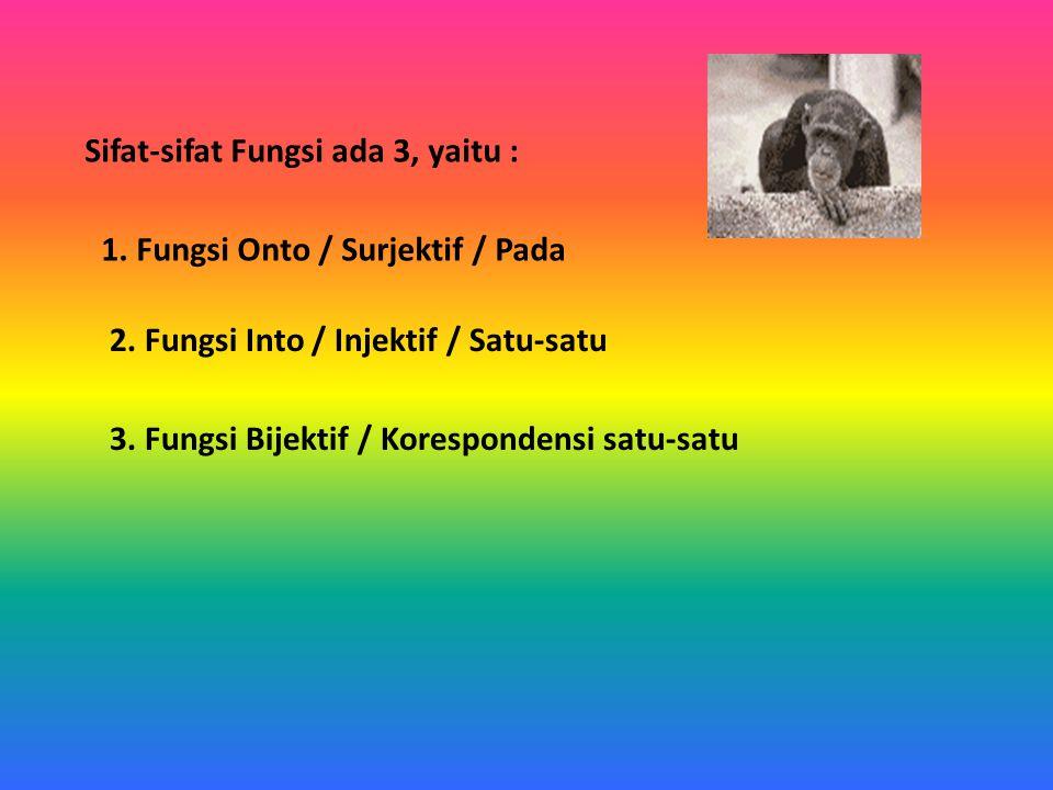 Sifat-sifat Fungsi ada 3, yaitu : 1. Fungsi Onto / Surjektif / Pada 2. Fungsi Into / Injektif / Satu-satu 3. Fungsi Bijektif / Korespondensi satu-satu