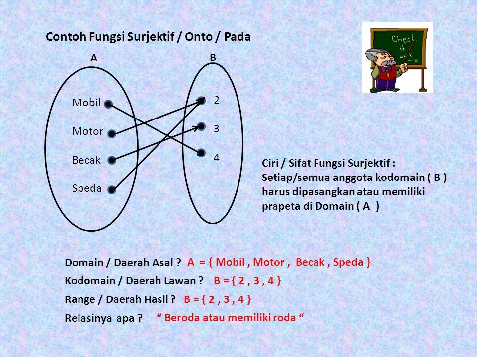 Mobil Motor Becak Speda A 234234 B Domain / Daerah Asal ? A = { Mobil, Motor, Becak, Speda } Kodomain / Daerah Lawan ?B = { 2, 3, 4 } Range / Daerah H